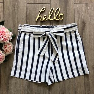 Loft Stripe Shorts Paper Bag Elastic Tie